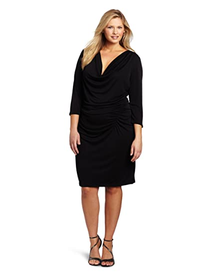 Dknyc Womens Plus Size Matter Short Sleeve Cowl Neck Dress Black