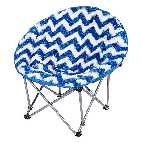 3C4G Folding Moon Chair, Blue Chevron