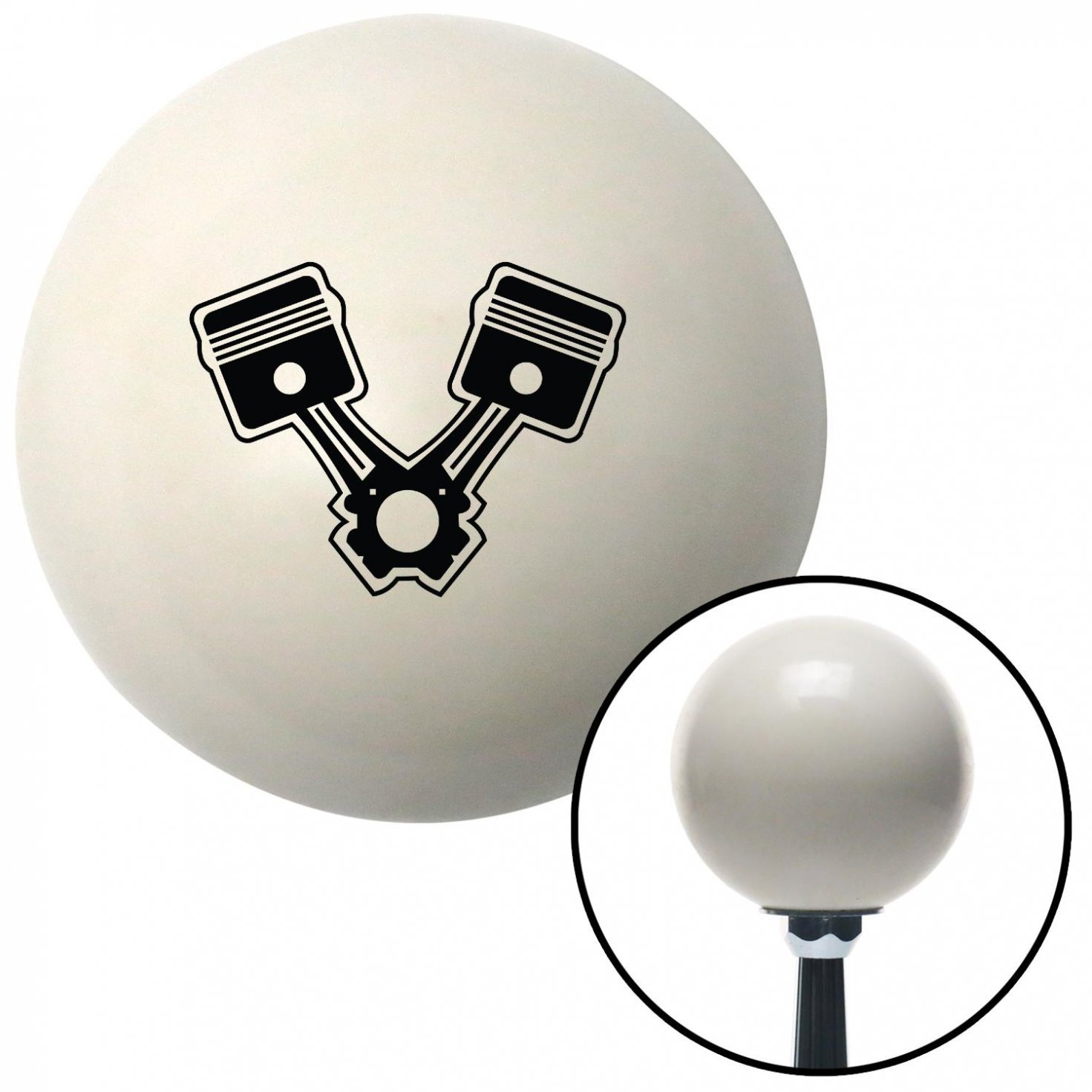Black 2 Pistons American Shifter 30078 Ivory Shift Knob with 16mm x 1.5 Insert