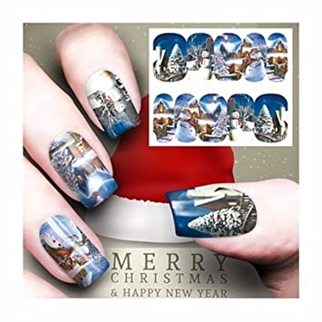 Amazon 1 Set Christmas Nail Art Stickers Water Transfer Nails