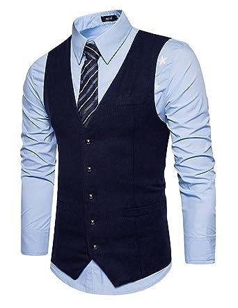 Leisure Hombre chaleco de traje blazers waistcoat sin manga ...