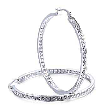 Pendientes para Mujer de acero inoxidable pendientes de aro con Circón Cúbica grandes Pendientes Aretes Aros 50 mm
