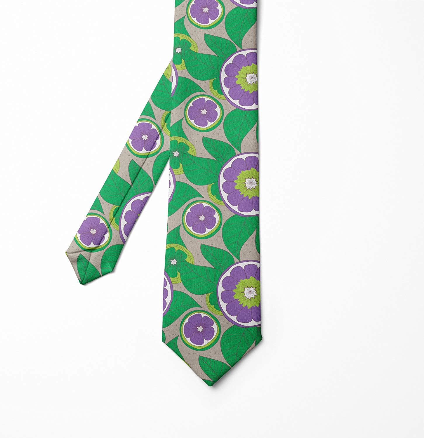 Fern Green Tan Violet Hand Drawing Fruits Leaves 3.7 Ambesonne Necktie