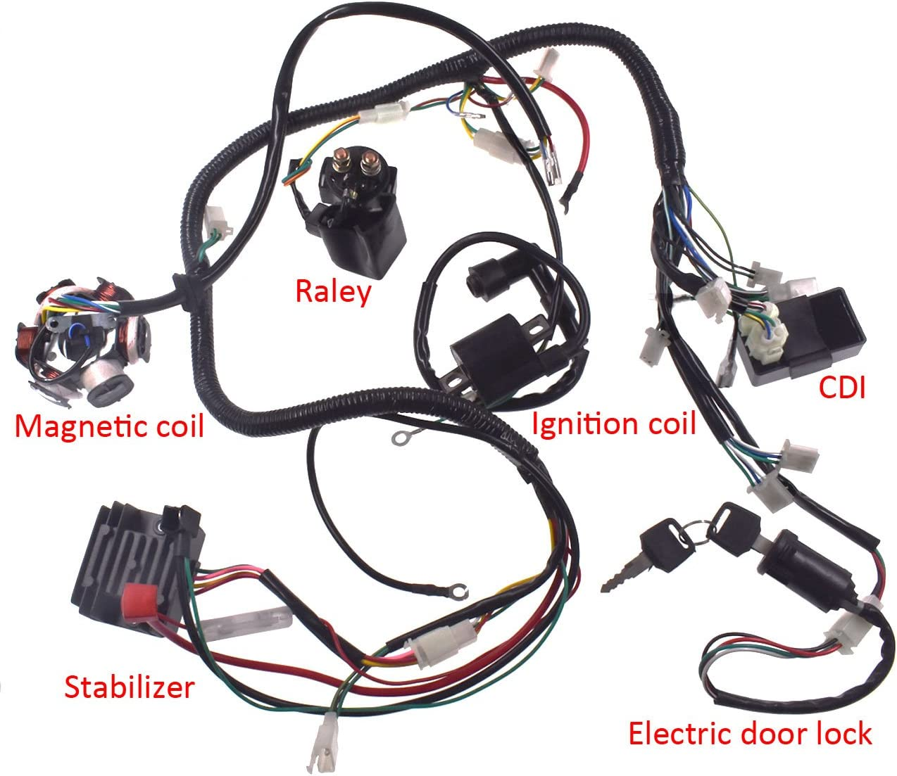 Amazon.com: sthus Wiring Harness Wire Loom Stator Electrics for GY6 150CC  125CC Buggy Scooter: Automotive | Gy6 Buggy Wiring Diagram |  | Amazon.com