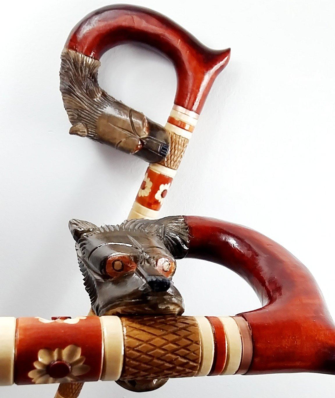 Cane Walking Stick Wooden Stick Handmade Men's Accesories (34 inch, Cobra)