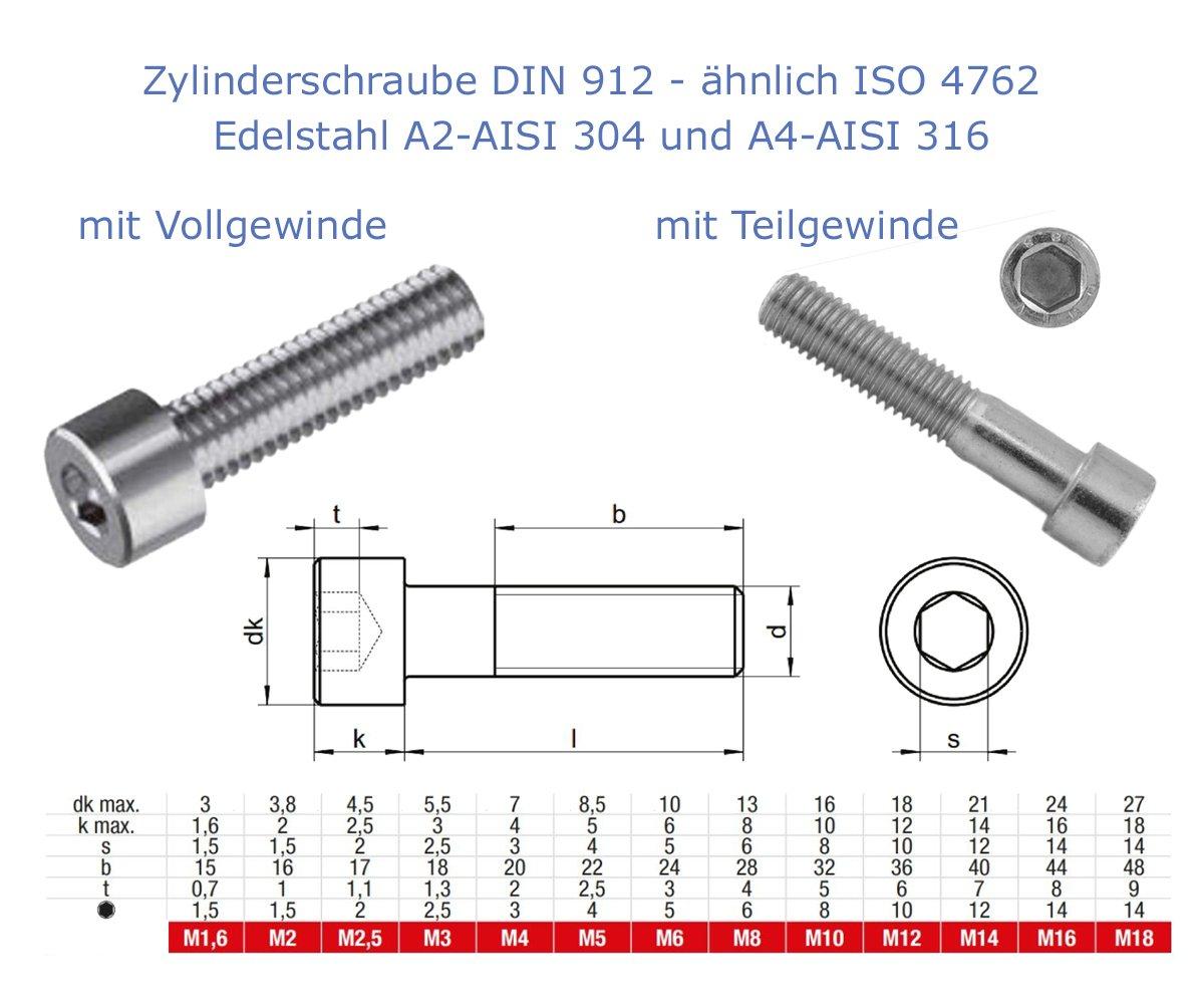 10 Stk Zylinderschrauben mit Innensechskant nach DIN 912 /ähnlich ISO 4762 mit Voll- und Teilgewinde A4 - AISI 316, M8x20