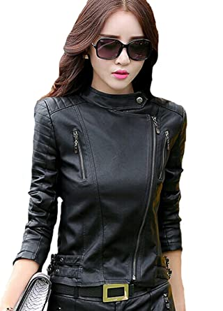 ac6b415fa HugMe.fashion Ladies Short Leather Jacket Slim Fit New Sexy Biker ...