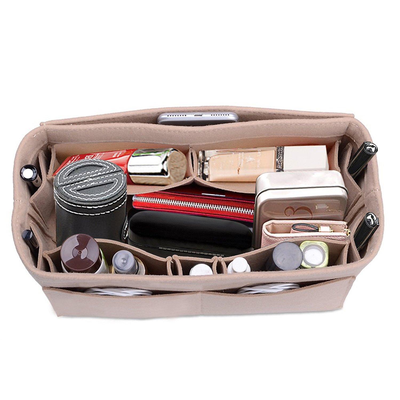 Felt Fabric Purse Handbag Organizer Bag – Lmieson Multi Pocket Insert Bag fit with Tote & Handbag, Speedy 35 and Neverfull MM, Beige Bag Insert In Bag (Large)