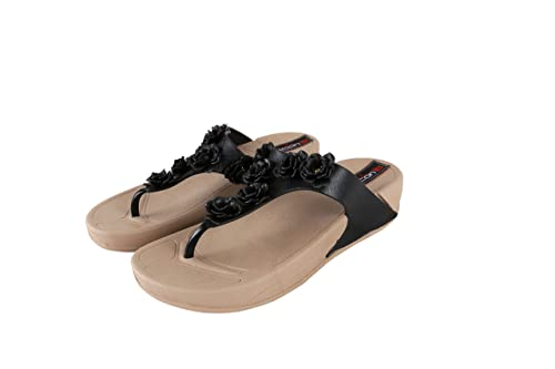 ceb3d26a95eeb Falcon18 Women s Trendy Flowers Embroidered Comfortable Outdoor Thong  Slippers and Flipflops Wedges T Strap Open Toe