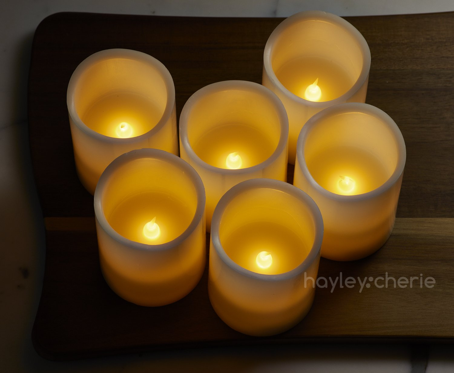"Hayley Cherie - Real Wax Flameless Candles with Timer (Set of 6) - Ivory LED Candles 3"" wide x 4"" tall - Flickering Amber Flame - Battery Operated Pillar Candles - Large Unscented by Hayley Cherie (Image #3)"