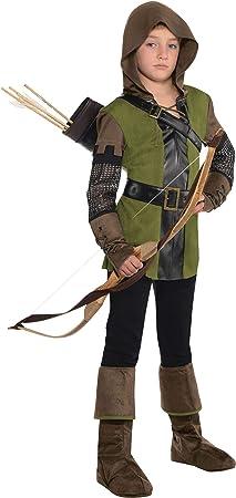 Disfraz de príncipe de los ladrones incluye.,Camisa, capucha montada, guantes, aljaba, cubierta para