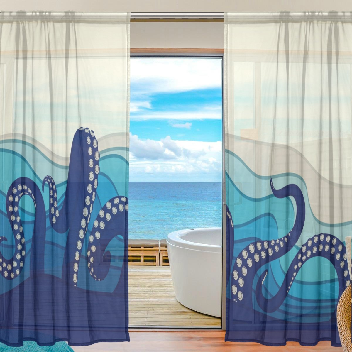 SEULIFE Window Sheer Curtain, Ocean Sea Animal Octopus Voile Curtain Drapes for Door Kitchen Living Room Bedroom 55x78 inches 2 Panels g2901664p113c127s169