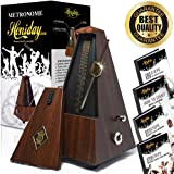 Mechanical Metronome | Vintage, Antique Style Beat Keeper | Tuner for Musical Instruments | Guitar, Piano, Drums, Violin, Vocals | Includes Training eBooks | Wood Color