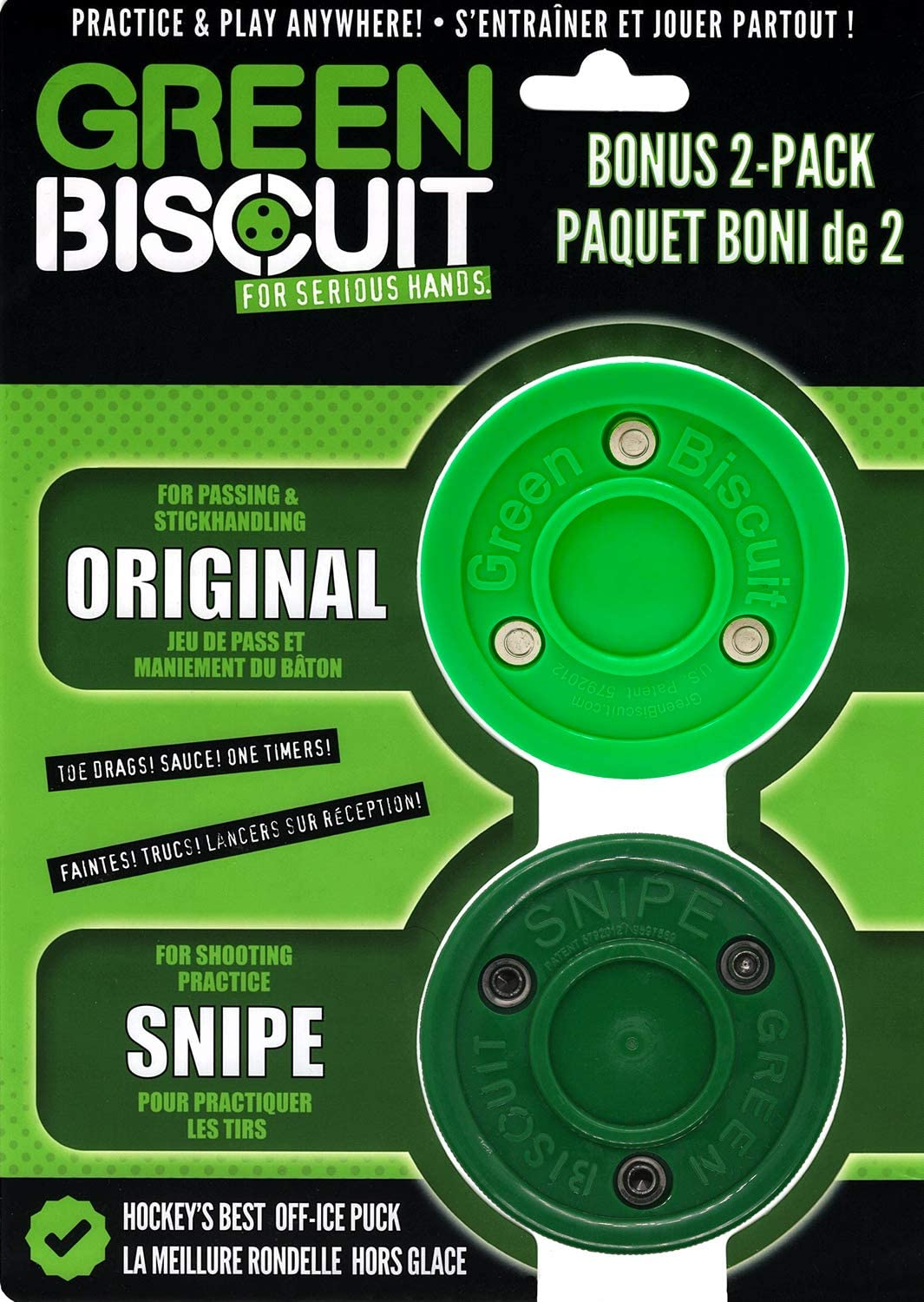 NEW!!! Green Biscuit Hockey Passing Training Puck