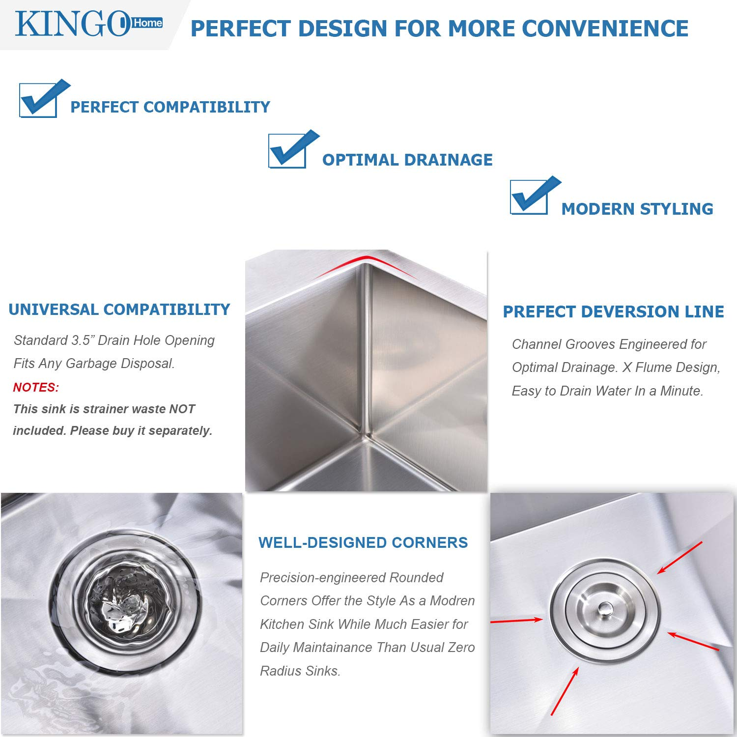 KINGO HOME Commercial 33''x 22'' Inch 10 Inch Extra Deep Handmade Top Mount T304 Stainless Steel Drop-In Single Bowl Kitchen Sink by KINGO HOME (Image #6)