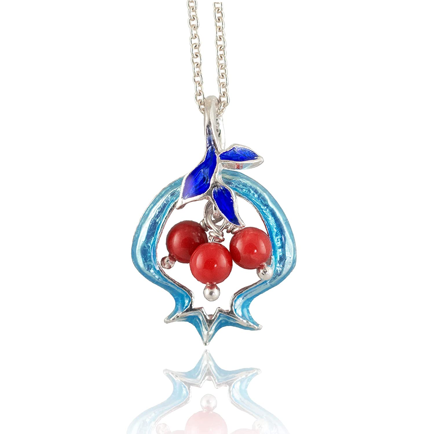 Long necklace with a long silver chain and turquoise and red pendants