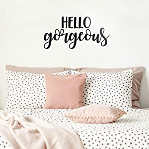 "Vinyl Wall Art Decal - Hello Gorgeous - 11"" x 23"" - Beautiful Chic Cursive Home Apartment Bedroom Living Room Decor - Modern Cute Femme Office Workplace Mirror Window Door Quote (11"" x 23"", Black)"
