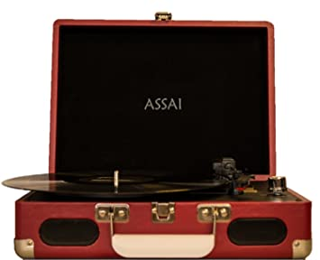 Tocadiscos con diseño retro-maletín estilo en rojo con ...