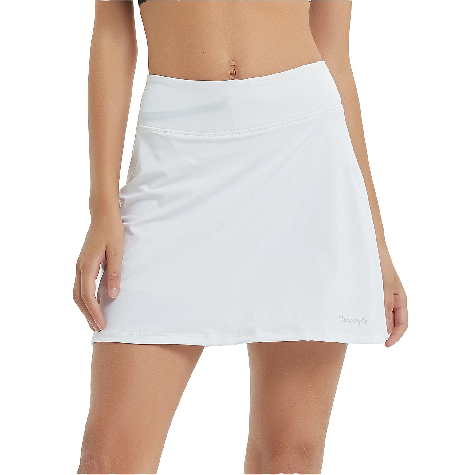 Ubestyle UPF 50+ Women's Active Athletic Skort Performance Skirt with Pockets for Running Tennis Golf Workout (White, L)