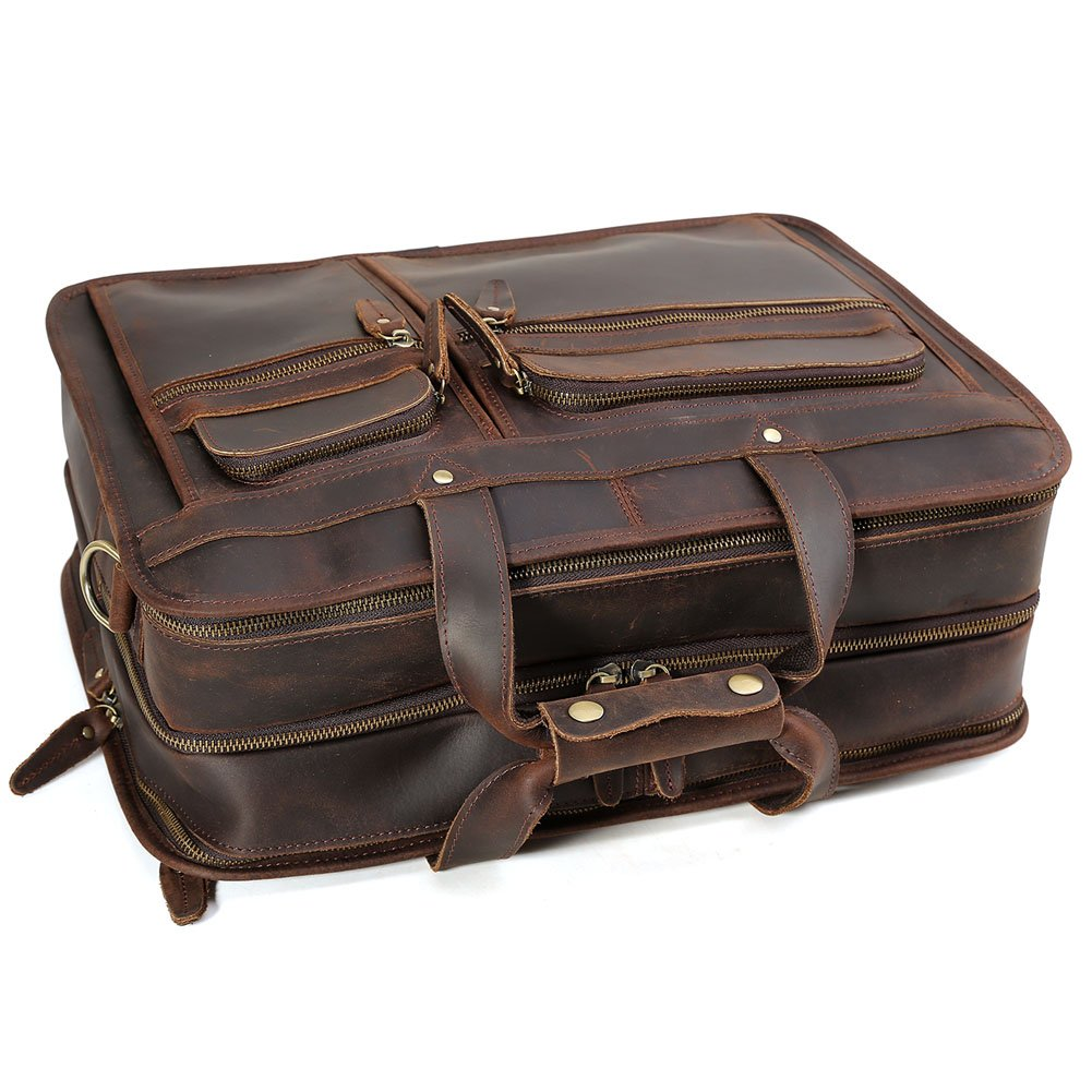 """Tiding Cowhide Leather Vintage Laptop Bag – Durable, Spacious, Stylish Carry On Business Bag – Fits 17.3"""" Laptop – Perfect for The Busy Businessman by Tiding (Image #9)"""