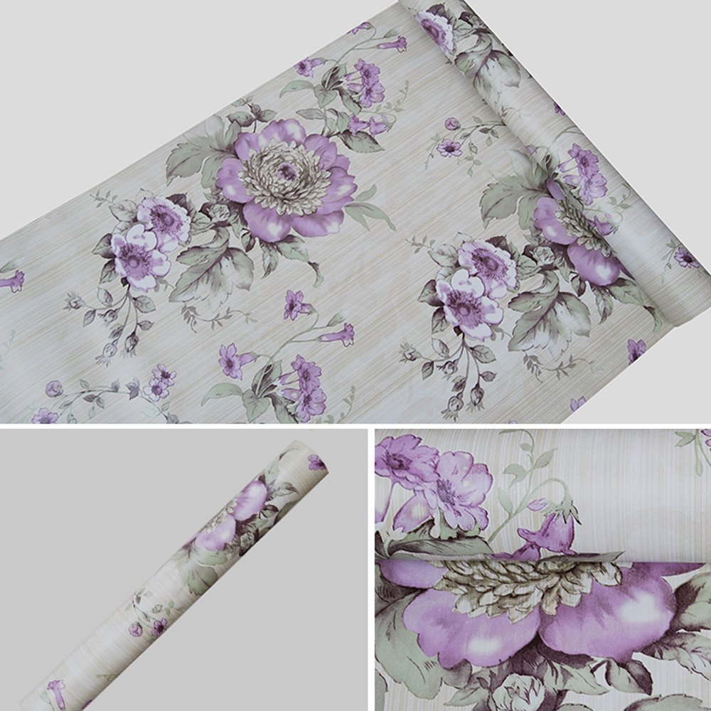 SimpleLife4U Vintage Purple Peony Self-Adhesive Kitchen Shelf Drawer Liner Moisture Proof PVC Mat 45x300cm LYSB015G2W51I-CMPTRACCS