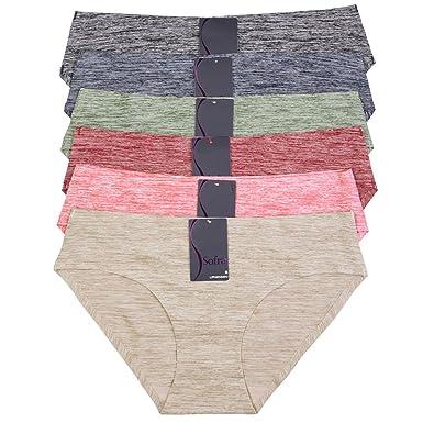 cac92f4ba07f Sofra 6 Pack of Women's Laser Cut No Show Bikini Panties at Amazon ...