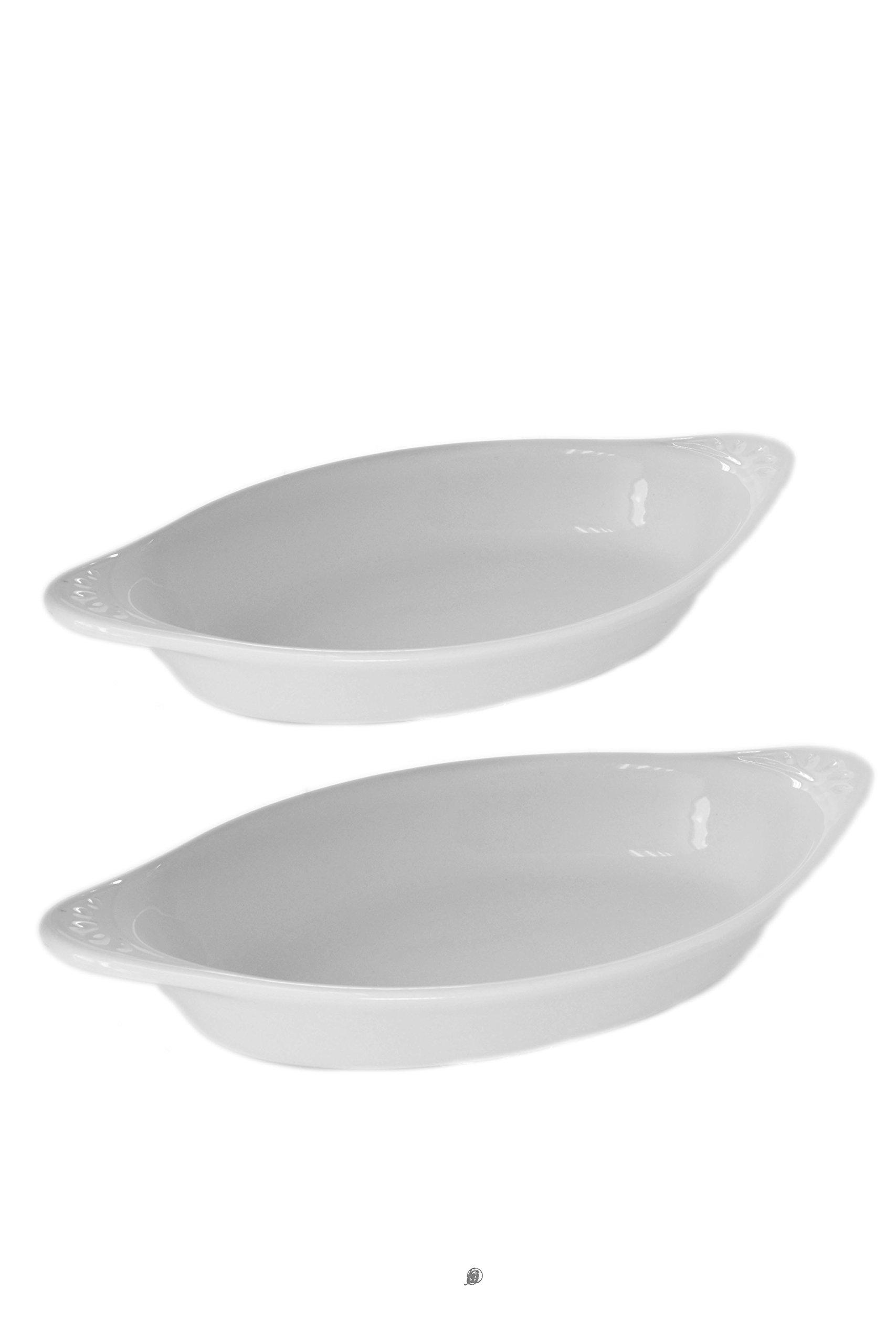 Set of 4 White Portuguese Porcelain Au Gratin Dishes with Handles