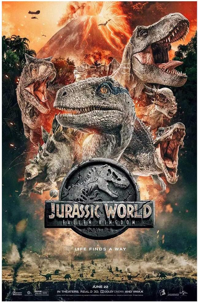 Jurassic World Tin Sign, Jurassic World Movie Vintage Metal Tin Sign, Movie Poster Tin Sign, Wall Decor for Bars, Restaurants, Cafes, Pubs 12 x 8 Inch