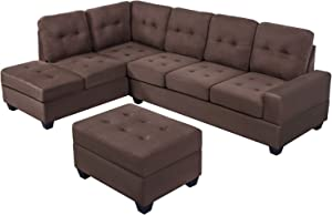 Merax Couch L Shaped Modern Sofa Sets for Living Room, Including Chaise Lounge, Storage Ottoman and Cup Holders Sectional, Brown
