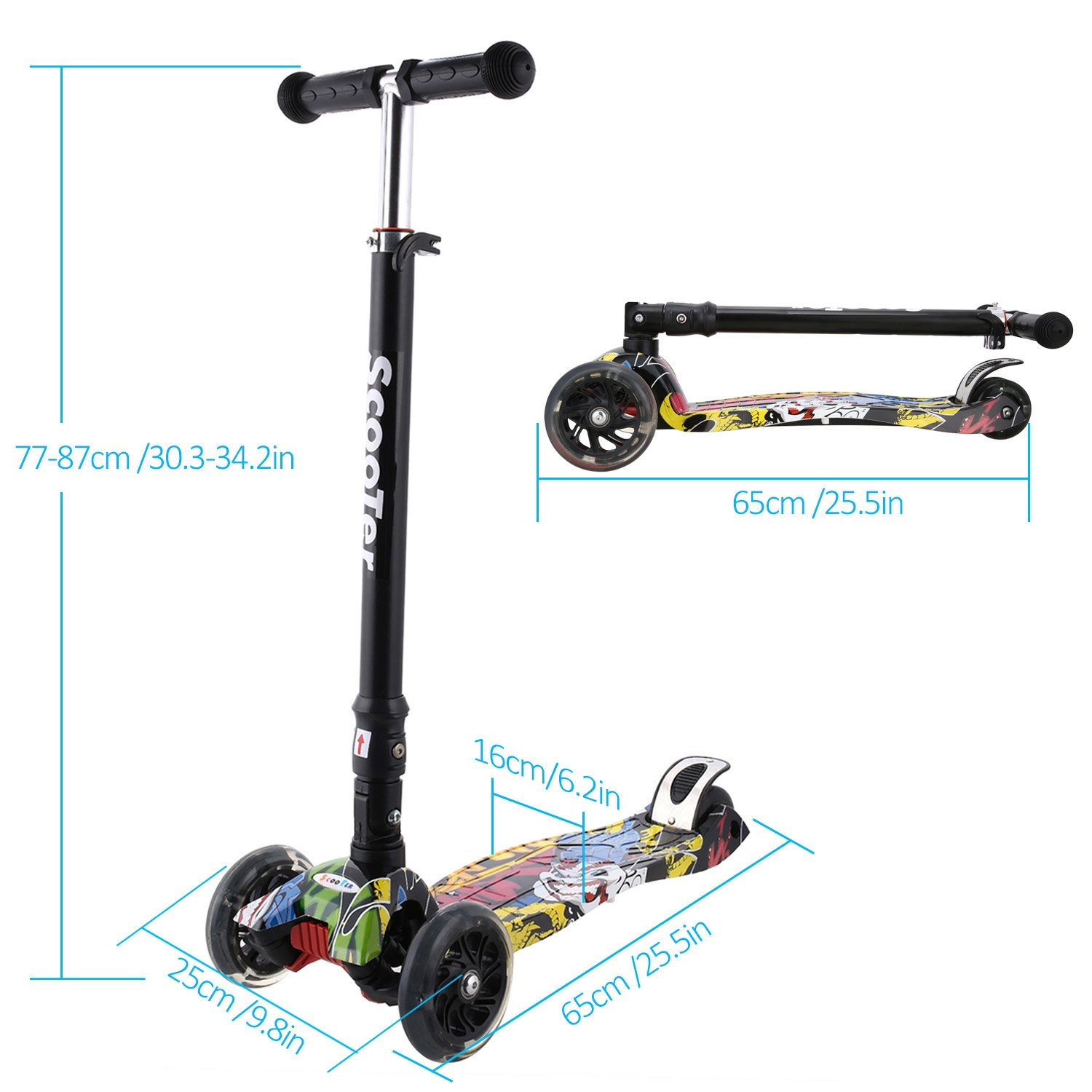 Hikole Scooter Kids Adjustable Height Handle Bars Graffiti Deck Kick Scooter Foldable Children with 3 Flashing PU Wheels Best Gifts for Boys Girls