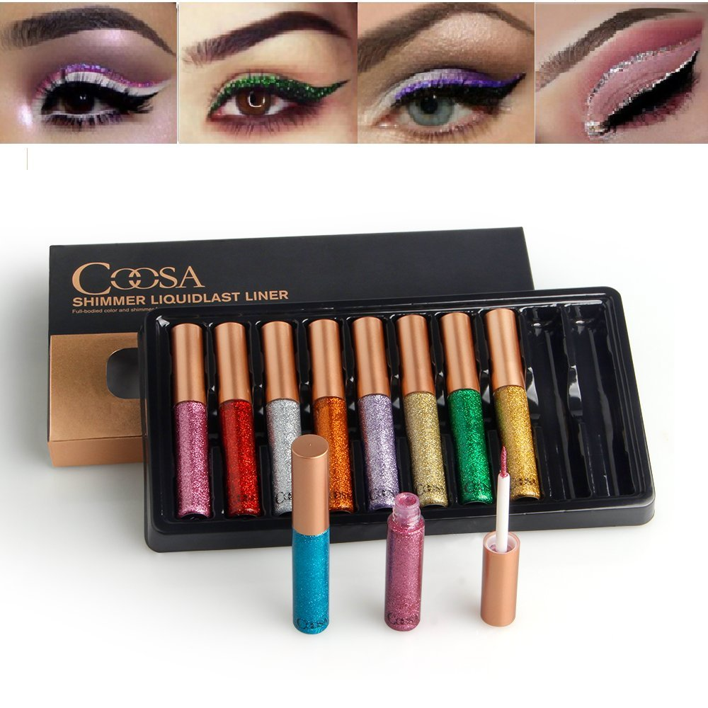 Coosa Glitter Liquid Eyeliner 10PCS Long Lasting Waterproof Sparkling Eyeliner Eye Shadow … (10PCS eyeliner) Coosa hair