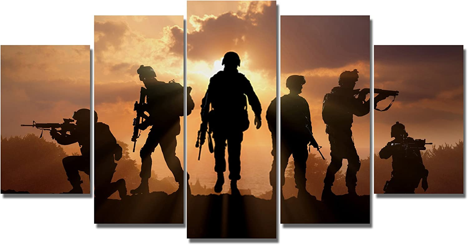 Freeoptimistic 5 Panels Modern Home Office Wall Art Decor Canvas Prints Six Military Soldier Silhouettes Photos Poster Prints Painting on Canvas (20cm(Framed))