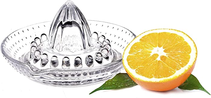 WisyLLC Citrus Orange Lemon Squeezer, Manuel hand juicer with glass and with handle and pour spout heavyweight glass for break resistance from WisyLLC Premium Collection