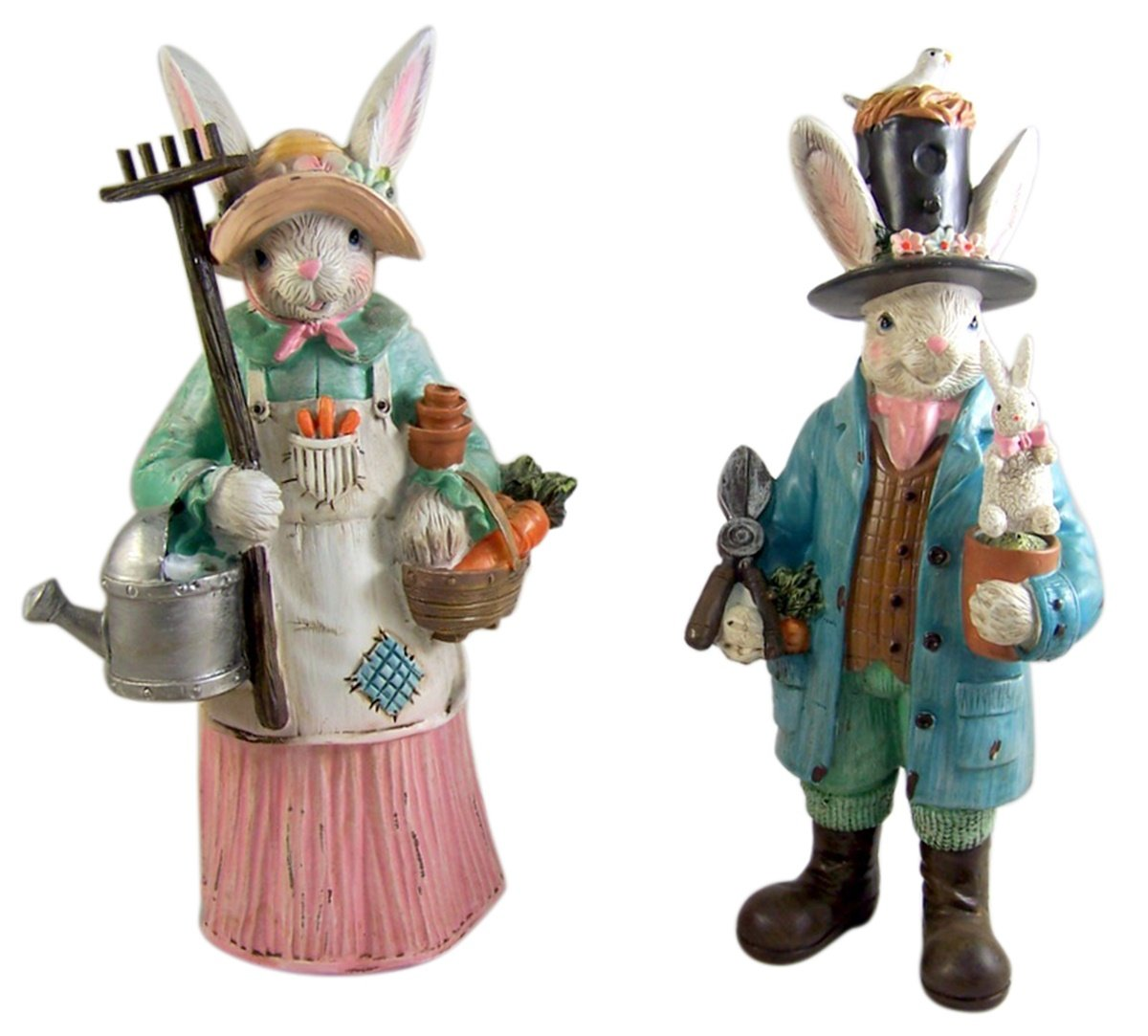 Amazon Farmhouse Rabbit Home Decor Gardening Bunny Couple Statue Figurine Decoration Set 12 Inch Kitchen