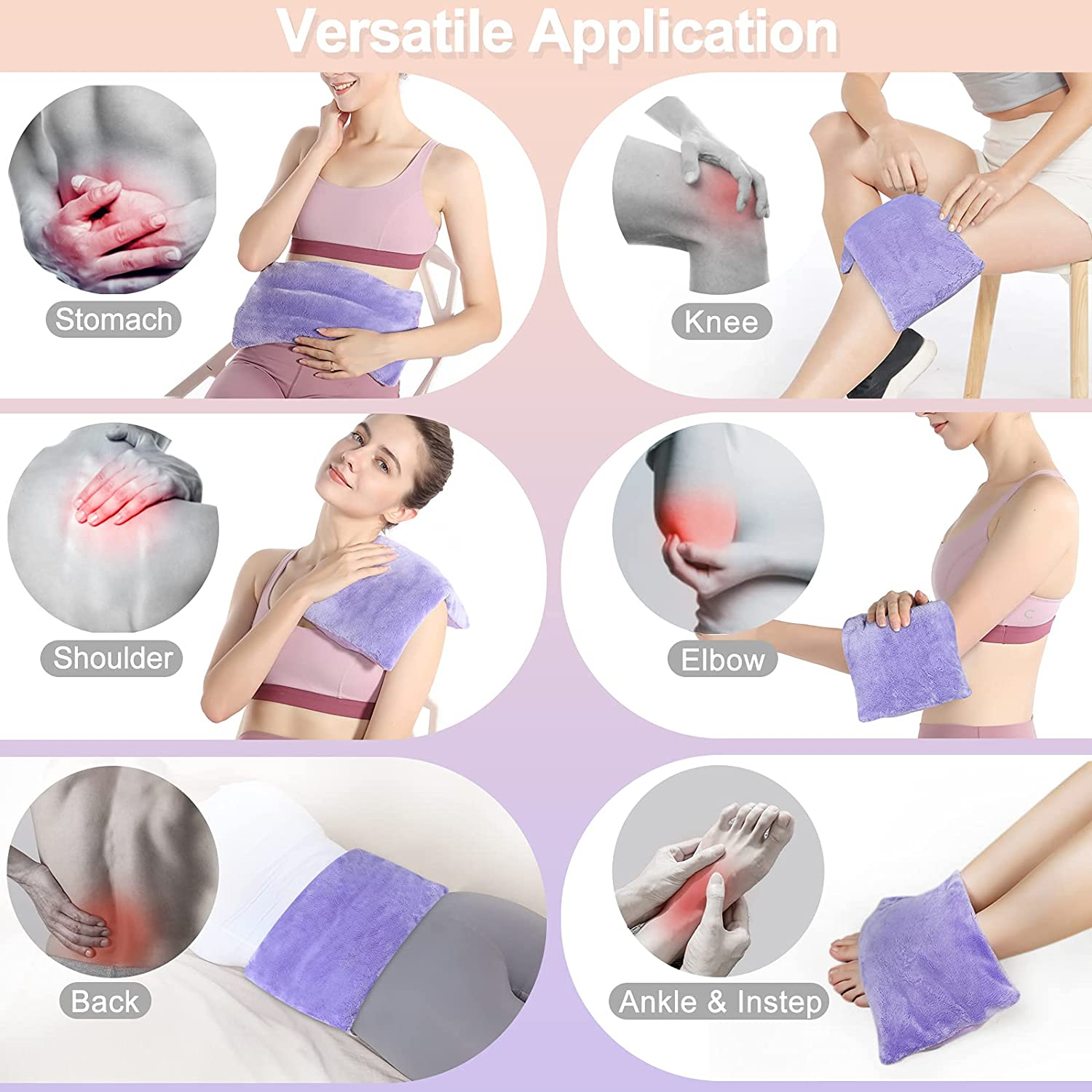SuzziPad Microwave Heating Pad, Multipurpose Heating Pad for Neck, Shoulder, Back, Knee, Period Cramps, Joint Pain and Muscle Ache,Moist Heat Pack for Pain Relief, Heat Compress Wrap (Purple