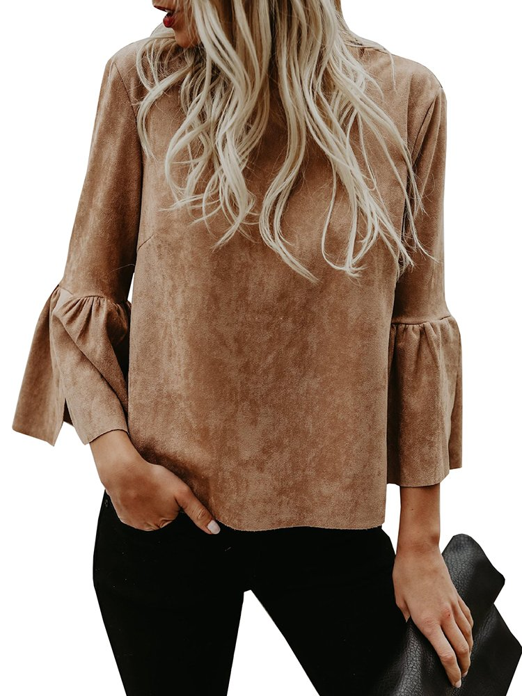 Bigyonger Womens Blouses Solid Flare Bell 3/4 Sleeves Casual Boho Shirt Tops Brown Small