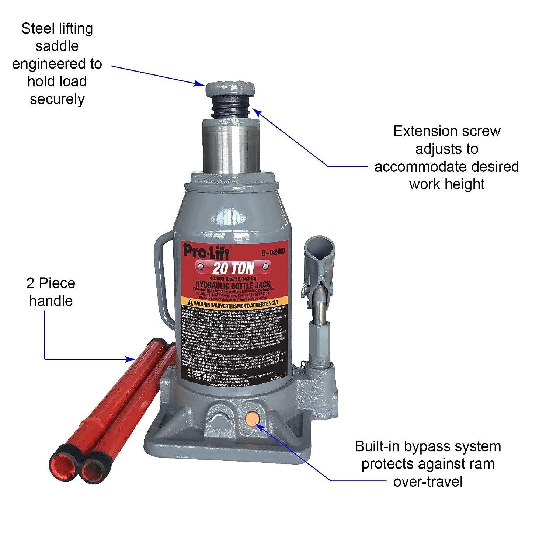 Pro Lift B 020d Grey Hydraulic Bottle Jack 20 Ton Oil Seal Kit Kc Mio Capacity Automotive