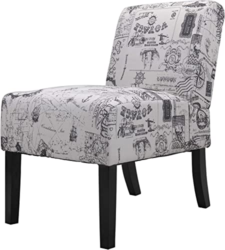 JAXPETY Leisure Sofa Signature Design English Letter Print Fabric Armless Contemporary Accent Chair, Single