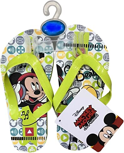 7//8 /& 9//10 Mickey Mouse Flip Flops Summer Sandals Toddler Boys Size 5//6 Toddler 9//10, Mickey Red /& Black Plaid