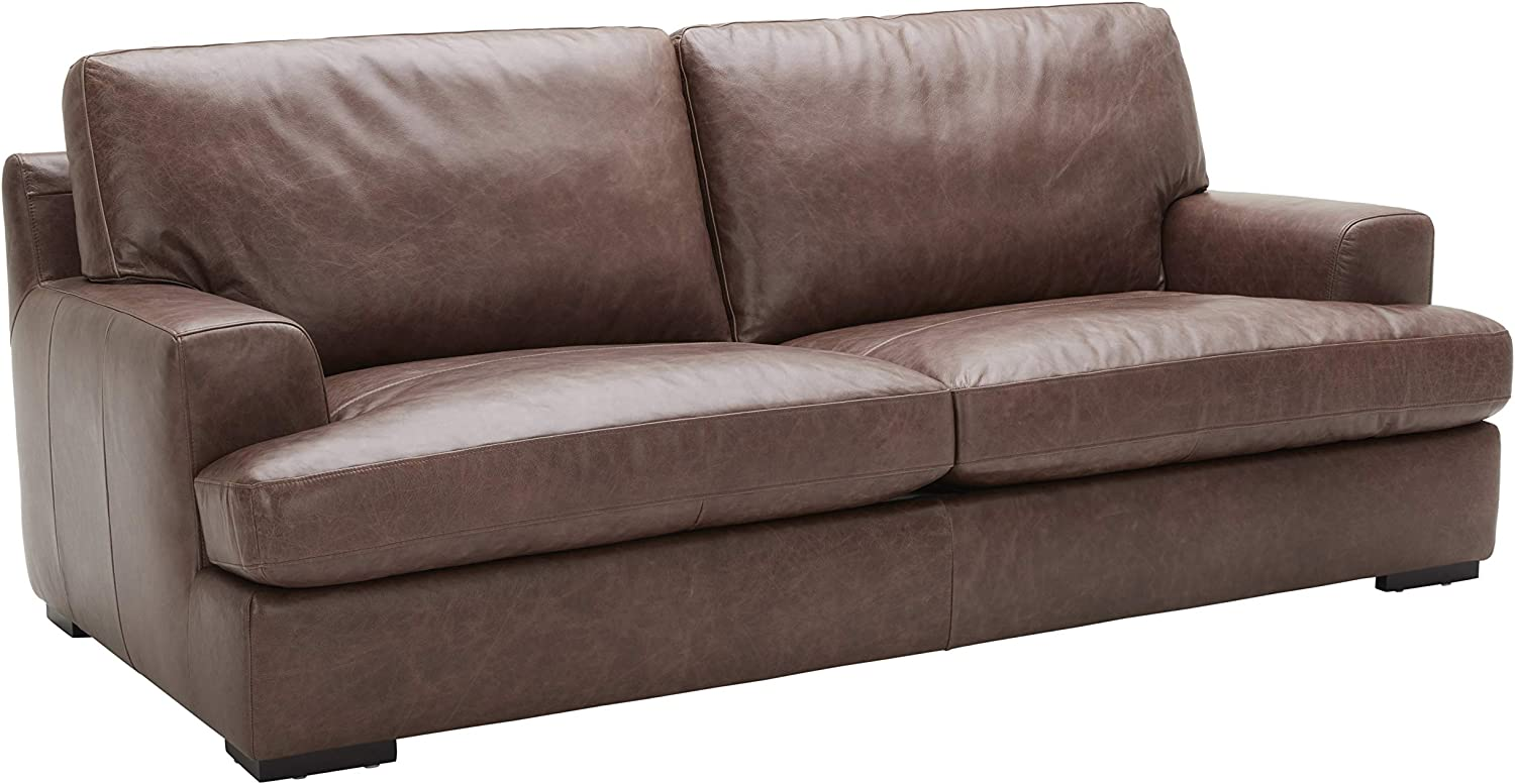 Amazon Brand – Stone & Beam Lauren Genuine Leather Down-Filled Oversized Sofa Couch, 89