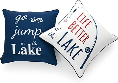 Hofdeco Lake House Indoor Outdoor Pillow Cover ONLY, Water Resistant for Patio Lounge Sofa, Navy Red White Life Better Go Jump in Lake, 18 x18 , Set of 2