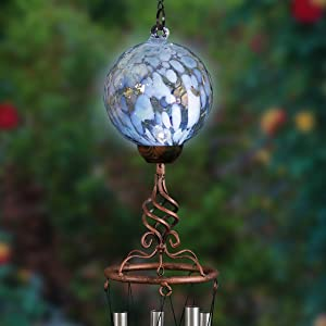 "Exhart Solar Turquoise Honeycomb Pearlized Glass Ball Wind Chimes - Honeycomb Ball Metal Wind Chimes w/LED Outdoor Lights – Honeycomb Glass Globe Bronze Finial 4.9"" L x 4.9"" W x 46.2"" H"