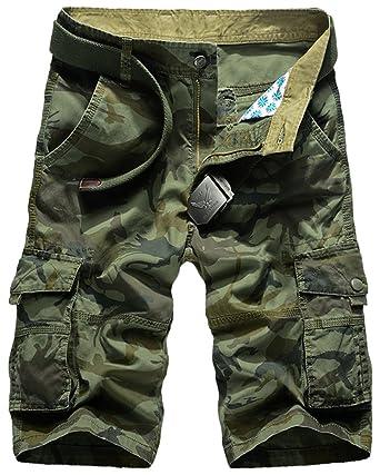 Mochoose Herren Sommer Casual Camouflage Baumwoll Twill Cargo Shorts Multi  Taschen Outdoor Tragen Hosen(Armeegrün