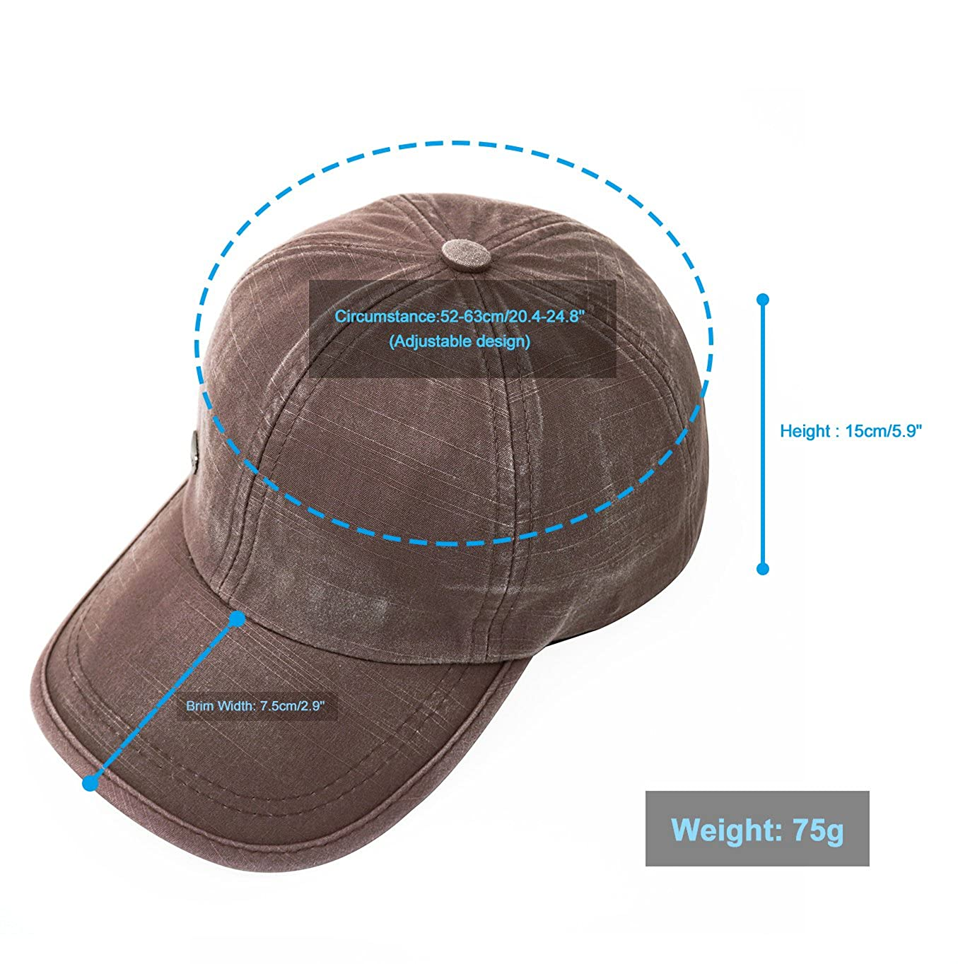6ceb8772194 Glamorstar Trendy Baseball Caps Adjustable Distressed Washed Cotton Ball Hat  Brown at Amazon Women s Clothing store