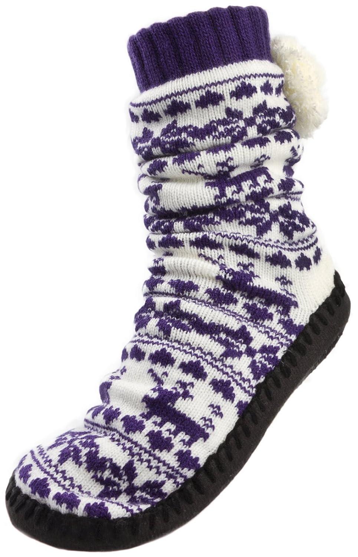 Lora Dora Womens Reindeer Knitted Slippers Socks