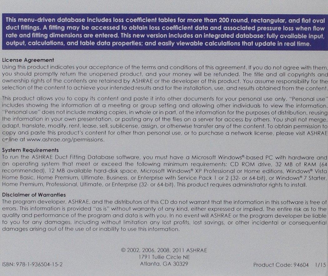 Buy ASHRAE Duct Fitting Database: Version 6 0 Book Online at