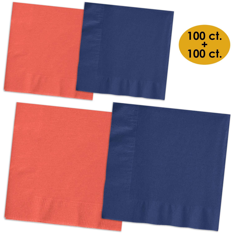 200 Napkins - Coral & Navy blue - 100 Beverage Napkins + 100 Luncheon Napkins, 2-Ply, 50 Per Color Per Type