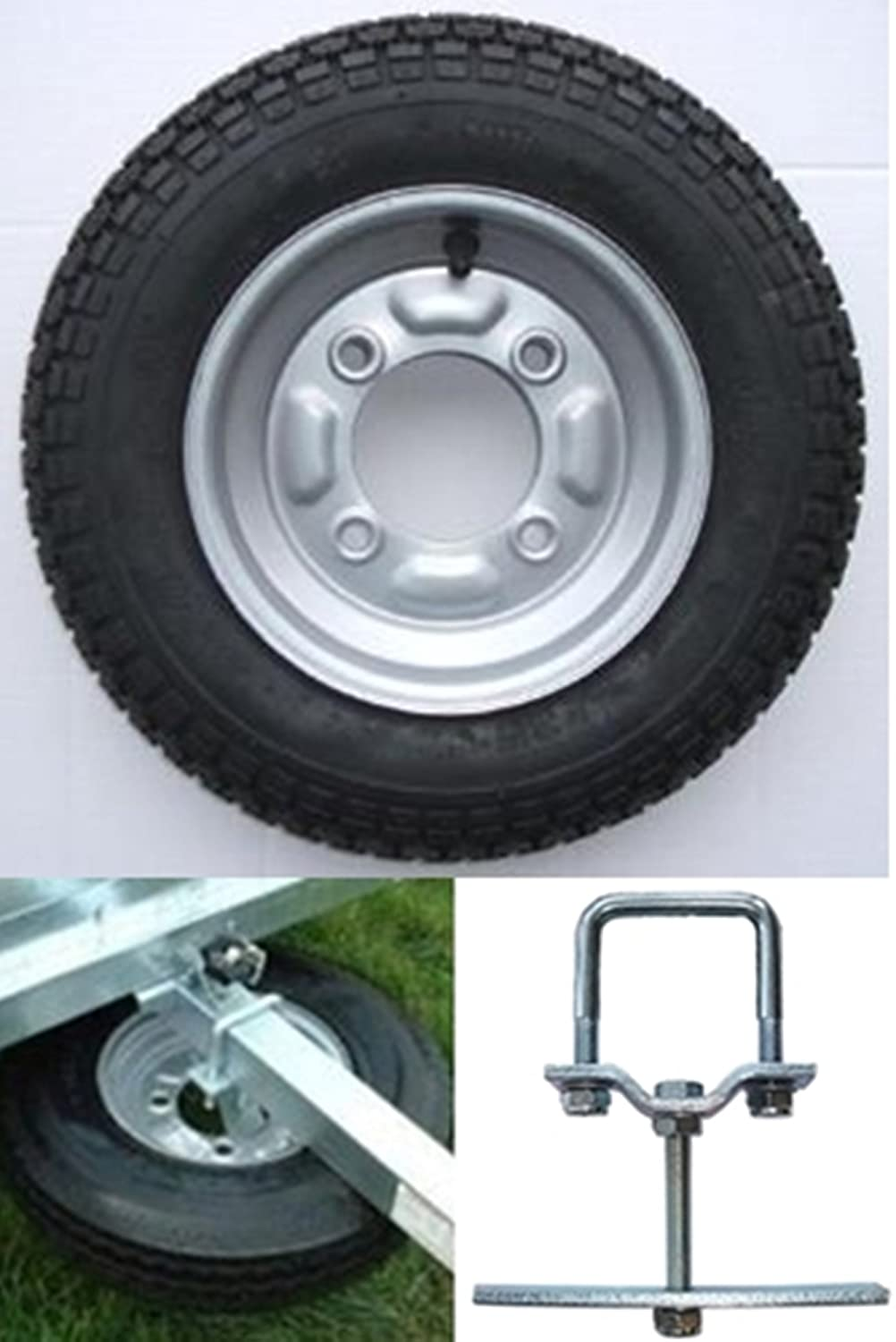 leisure MART 3.50 x 8 inch trailer wheel and tyre with 4 ply tyre and 115mm PCD for Erde 102 and Maypole 711 complete with SPARE WHEEL CARRIER Pt no. LMX1752