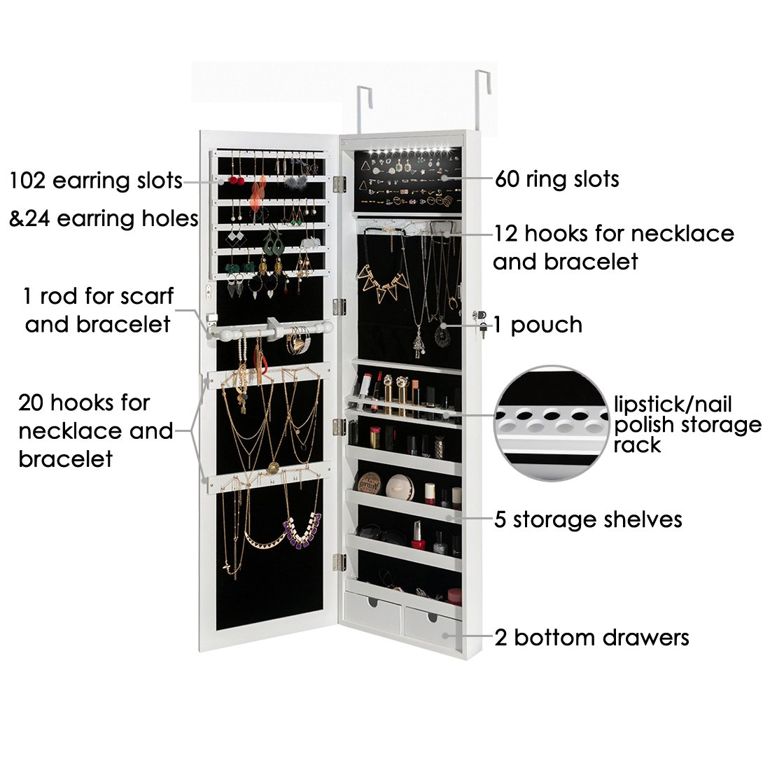 Marble Field Mirrored Jewelry Cabinet Lockable Wall Door Mounted Jewelry Armoire Organizer with LED Light, White