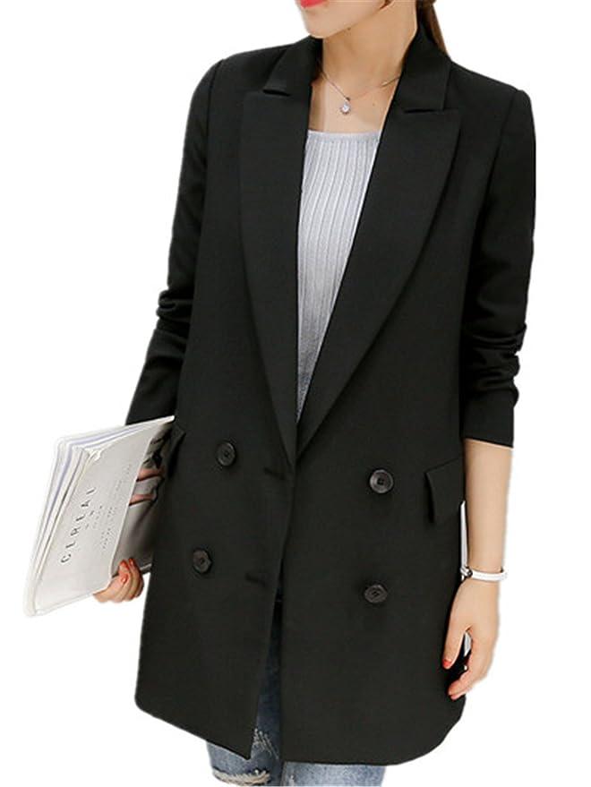 Robin Santiago New Autumn Long Women Blazers Single Button Gray Blazer Women Jacket Casual Coat at Amazon Womens Clothing store: